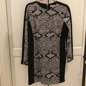 Michael Kors Tight Snake Print and Black Dress